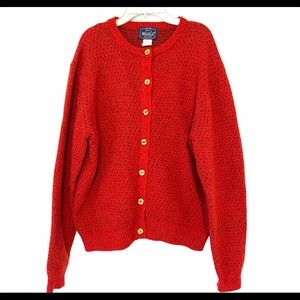 Woolrich Vintage Red Green Wool Button Cardigan